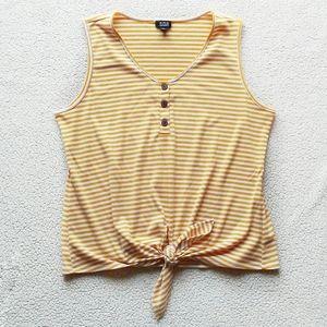 a.n.a Tie Front Mustard Stripe Button Tank Top